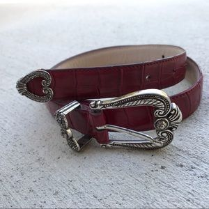 Galaxy Red Leather Embossed Belt